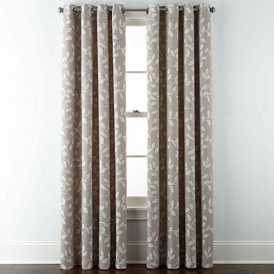 Liz Claiborne Quinn Leaf Room Darkening Grommet Top Curtain Panel