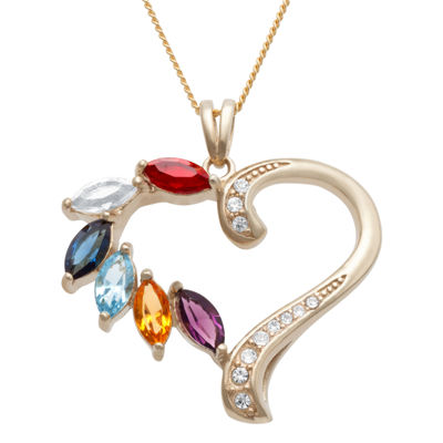 Personalized Family Marquise Birthstone Heart Pendant Necklace