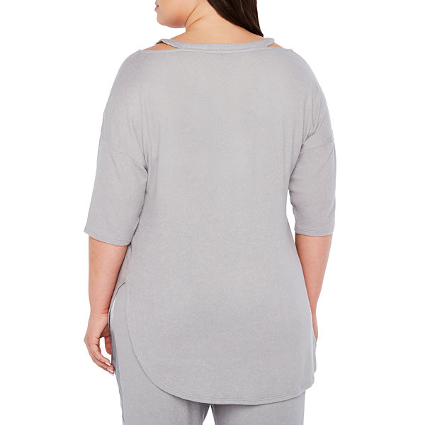 Ambrielle 3/4 Sleeve Strappy V-Back Pajama Top-Plus