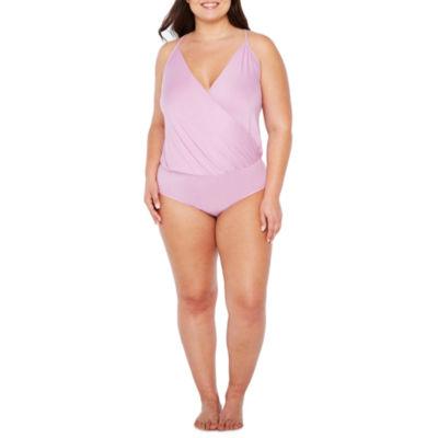 Ambrielle Sleeveless Wrap Front  Bodysuit-Plus