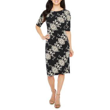 Ronni Nicole Elbow Sleeve Medallion Sheath Dress