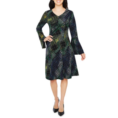 Robbie Bee Long Sleeve Plaid Fit & Flare Dress