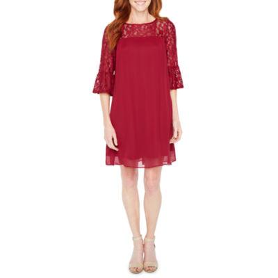 Perceptions 3/4 Sleeve Lace Pattern Shift Dress