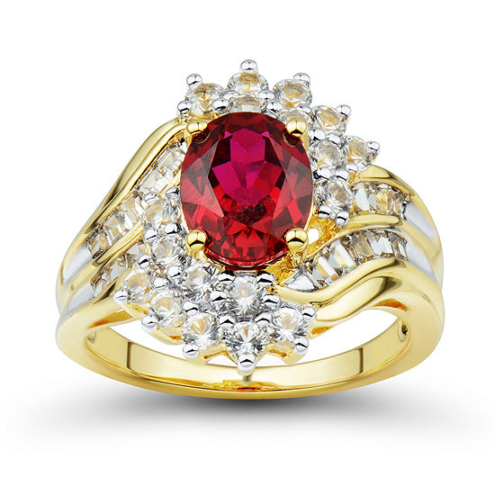 Womens Lab Created Red Ruby 14k Gold Over Silver Cocktail Ring
