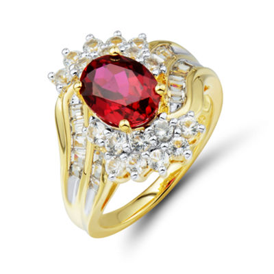 Womens Red Ruby Gold Over Silver Cocktail Ring