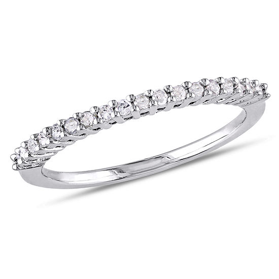 Womens 2MM 1/5 CT. T.W. Genuine White Diamond Sterling Silver Wedding Band