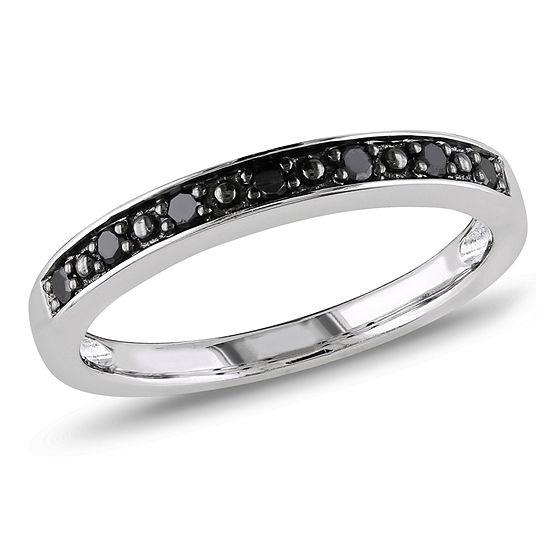 2MM 1/10 CT. T.W. Genuine Black Diamond Sterling Silver Wedding Band