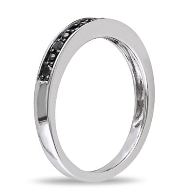 Womens 2MM 1/10 CT. T.W. Black Diamond Sterling Silver Wedding Band