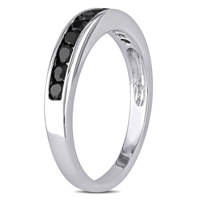 Womens 2MM 1/2 CT. T.W. Black Diamond Sterling Silver Wedding Band