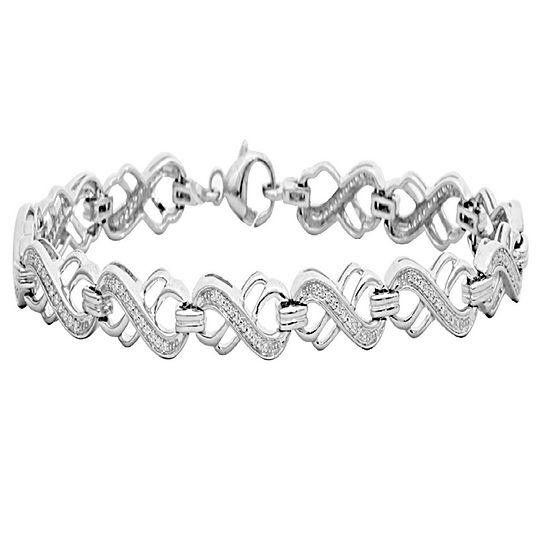 1/3 CT. T.W. Genuine White Diamond Sterling Silver 7 Inch Tennis Bracelet
