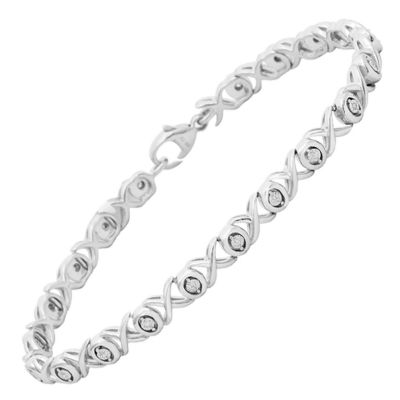 1/10 CT. T.W. Genuine White Diamond Sterling Silver 7 Inch Tennis Bracelet