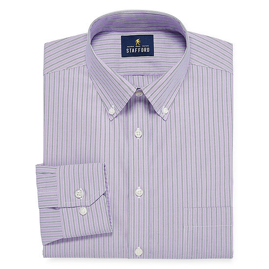Stafford Executive Non-Iron Fitted Cotton Pinpoint Oxford Long Sleeve Dress Shirt