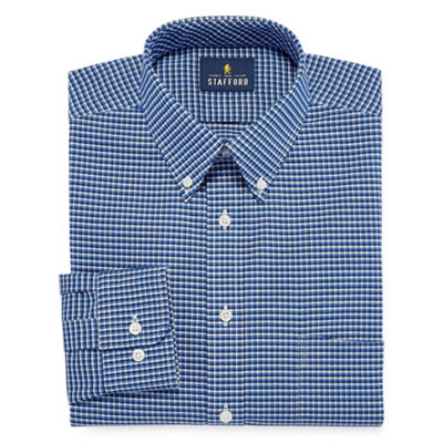 Stafford Wrinkle Free Oxford Long Sleeve Woven Gingham Dress Shirt