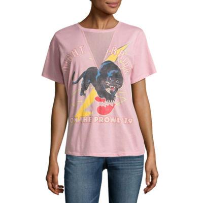 "Mesh V Neck ""Night Warrior"" Panther Graphic T-Shirt- Juniors"