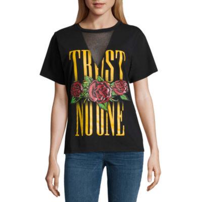 "Mesh V Neck ""Trust No One"" Graphic T-Shirt- Juniors"
