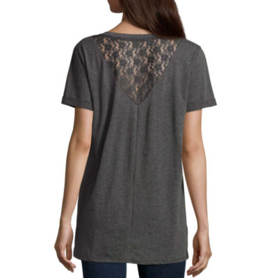 Lace Back Graphic T-Shirt- Juniors
