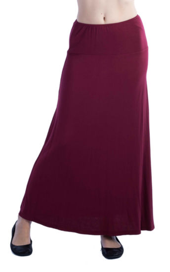 24/7 Comfort Apparel Solid Maxi Skirt