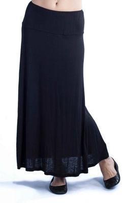24/7 Comfort Apparel Solid Womens Elastic Waist Maxi Skirt