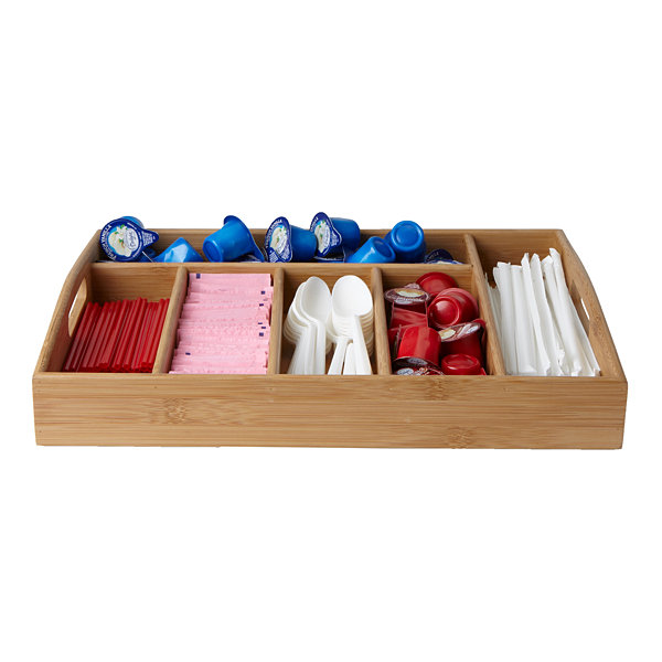 Mind Reader 6-Compartment Bamboo Serving Tray With Handles