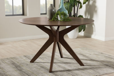 Baxton Studio Monte Round Wood-Top Dining Table