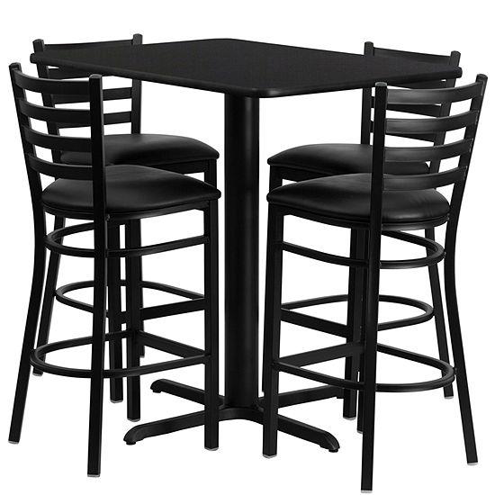 24''W x 42''L Rectangular Laminate Table Set with 4 Ladder Back Metal Barstools