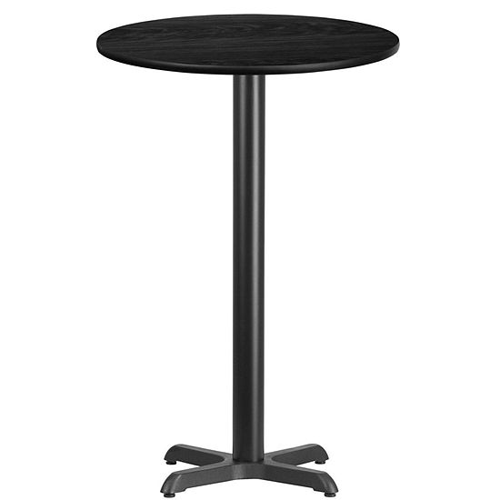 24'' Round Laminate Table Top with 22'' x 22'' Bar Height Table Base