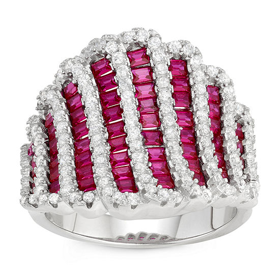 Womens Lab Created Pink Sapphire Sterling Silver Cocktail Ring