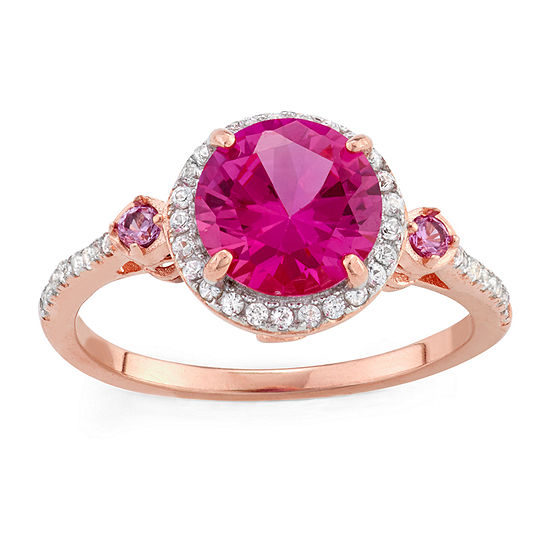Womens Lab Created Pink Sapphire 14K Gold Over Silver Cocktail Ring