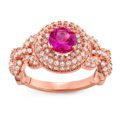 Womens Lab Created Pink Sapphire Cocktail Ring