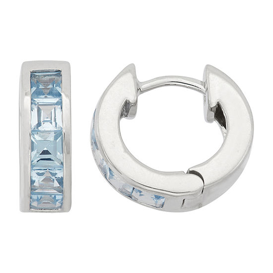 Lab Created Blue Aquamarine Sterling Silver Clip On Earrings