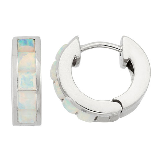 Lab Created White Opal Sterling Silver Clip On Earrings