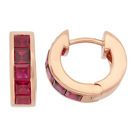 Lab Created Red Ruby 14K Gold Over Silver Clip On Earrings