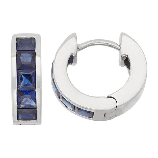 Lab Created Blue Sapphire Sterling Silver Clip On Earrings