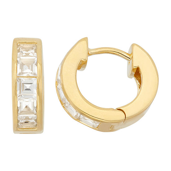 Lab Created White Sapphire 14k Gold Over Silver Clip On Earrings