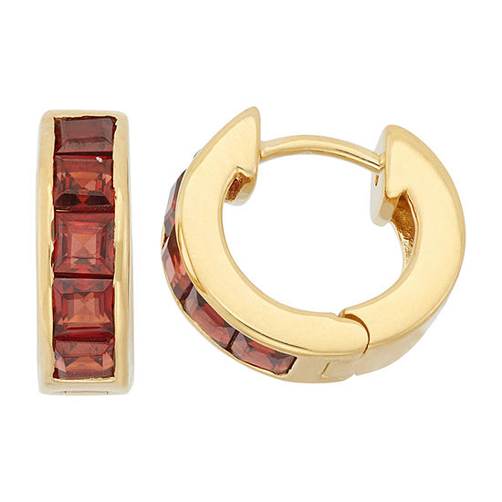 Lab Created Red Garnet 14K Gold Over Silver Clip On Earrings