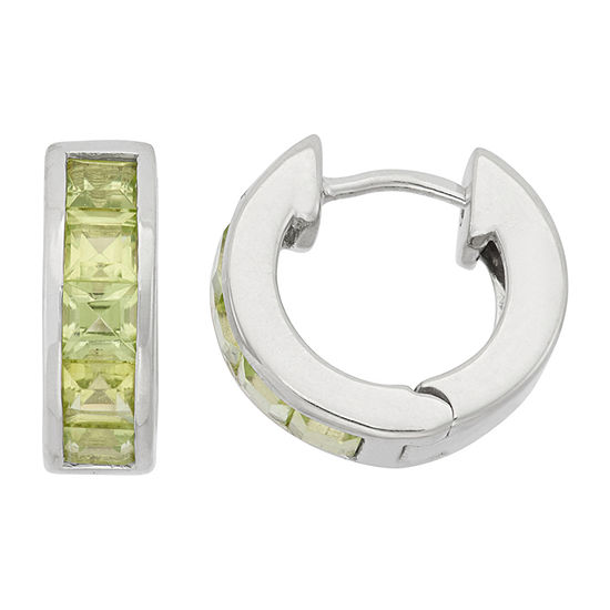 Lab Created Green Peridot Sterling Silver Clip On Earrings