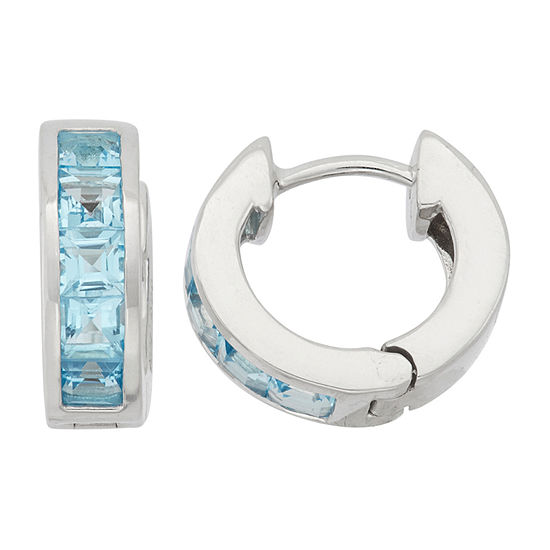 Lab Created Blue Topaz Sterling Silver Clip On Earrings