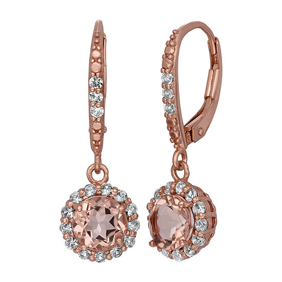 Simulated Yellow Morganite 14K Gold Over Silver Drop Earrings