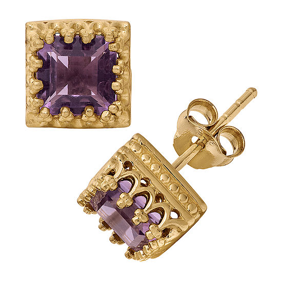 Genuine Purple Amethyst 14K Gold Over Silver 8mm Stud Earrings