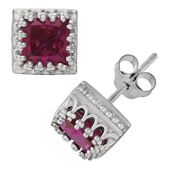 Lab Created Red Ruby Sterling Silver 8mm Stud Earrings