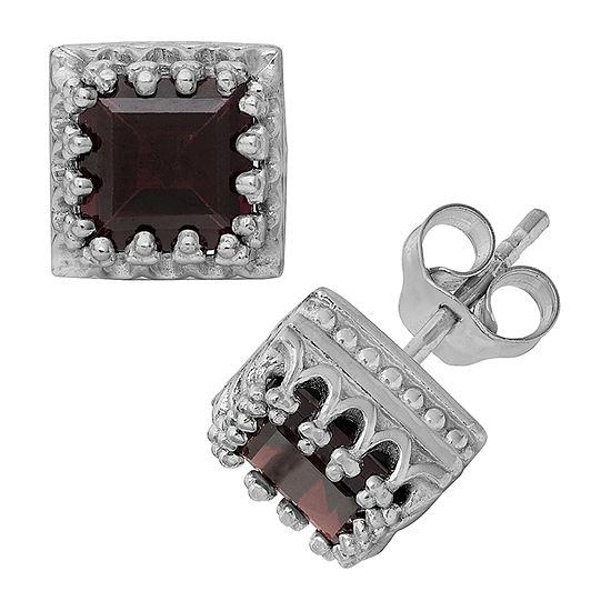 Genuine Red Garnet Sterling Silver 8mm Stud Earrings