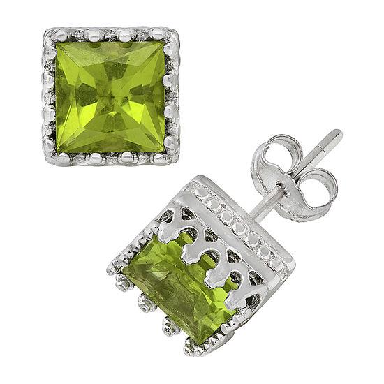 Genuine Green Peridot Sterling Silver 8mm Stud Earrings