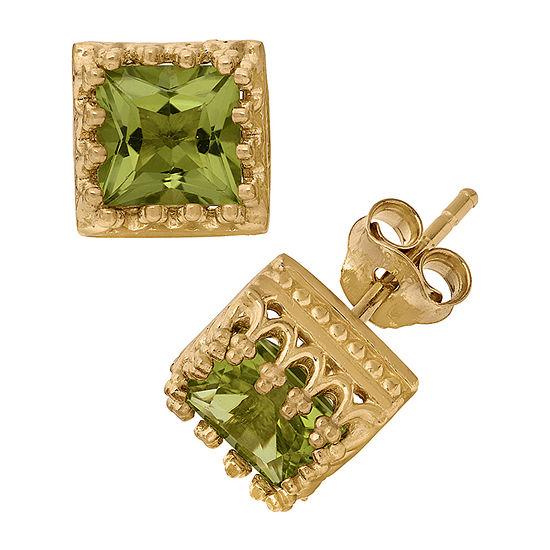 Genuine Green Peridot 14K Gold Over Silver 8mm Stud Earrings
