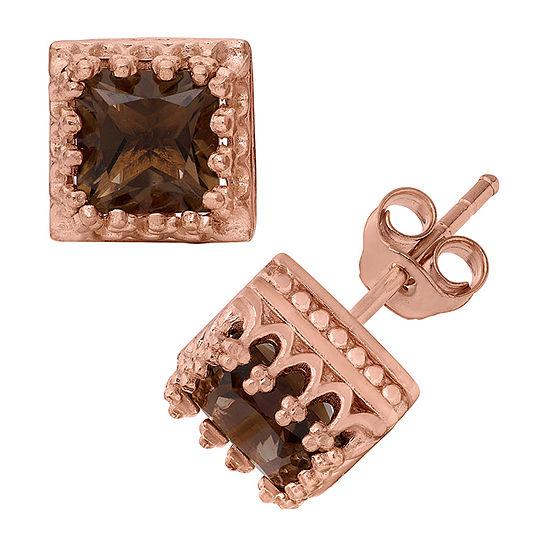 Genuine Brown Quartz 14K Gold Over Silver 8mm Stud Earrings