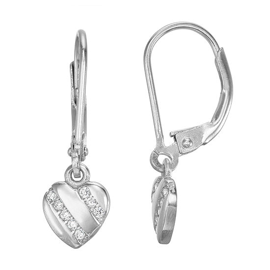 Lab Created White Cubic Zirconia Sterling Silver Heart Drop Earrings
