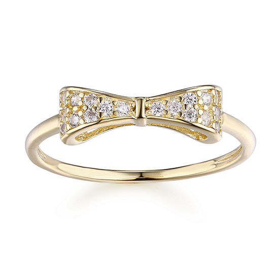 Girls Lab Created White Cubic Zirconia 14K Gold Over Silver Bow Cocktail Ring