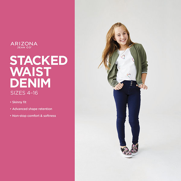 Arizona Stacked Waist Girls Jeggings Preschool / Big Kid