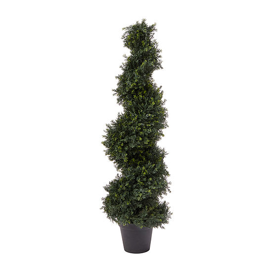 Lavish Home 4 Ft. Artificial Cypress Spiral Topiary Tree