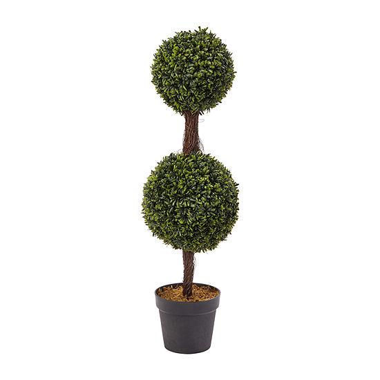Lavish Home 3 Ft.. Artificial Podocarpus Double Ball Style Faux Plant