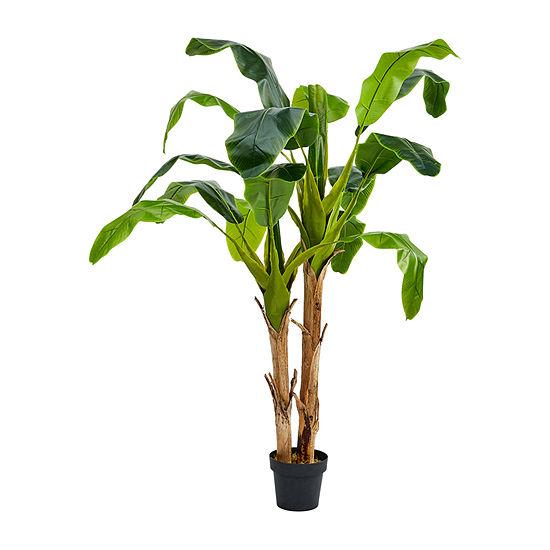 Lavish Home 6 Ft. Artificial Double Trunk Banana Leaf Tree